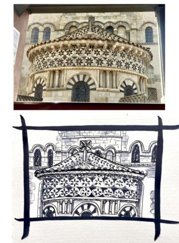 Détail de Notre Dame du Port à Clermont Ferrand